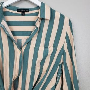 Velvet Heart Tops - STRIPED BUTTON DOWN BLOUSE